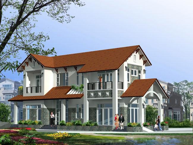 Thiết Kế Kiến Trúc Biệt Thự Tại Bắc Ninh/biệt thự kiểu mái vát Thái