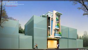 Thiết kế kiến trúc nhà phố (gia đình chị Vân) - góc nhìn A