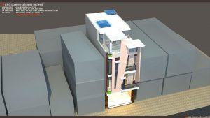 Thiết kế kiến trúc nhà phố (gia đình chị Vân) - góc nhìn C