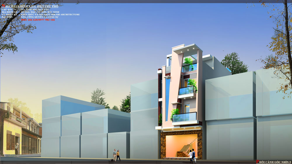 Thiết kế kiến trúc nhà phố (gia đình chị Vân) - góc nhìn D