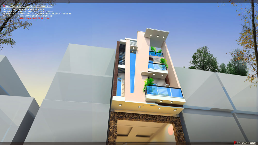 Thiết kế kiến trúc nhà phố (gia đình chị Vân) - góc nhìn E