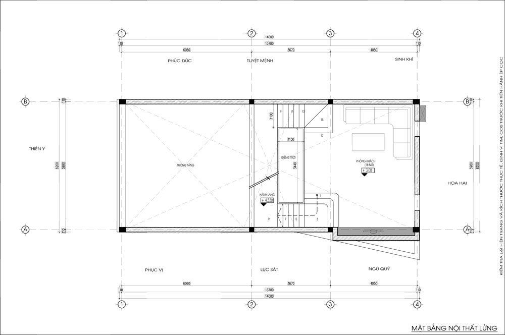 Thiết kế kiến trúc nhà phố (gia đình chị Vân) - mặt bằng lửng