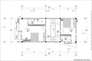 Thiết kế kiến trúc nhà phố (gia đình chị Vân) - mặt bằng tầng 2