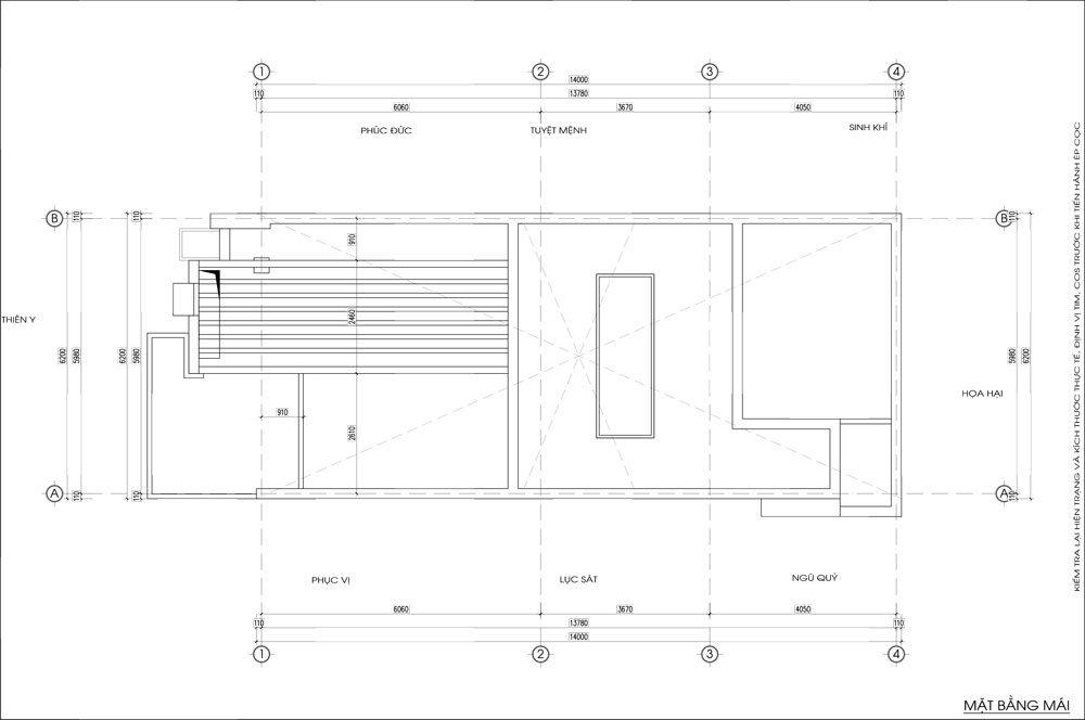 Thiết kế kiến trúc nhà phố (gia đình chị Vân) - mái