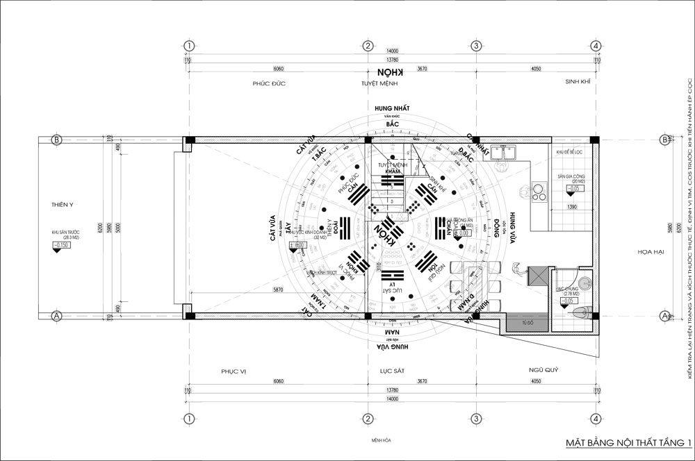 Thiết kế kiến trúc nhà phố (gia đình chị Vân) - mặt bằng tầng 1